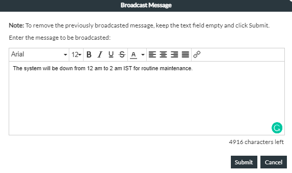 Broadcast message textbox
