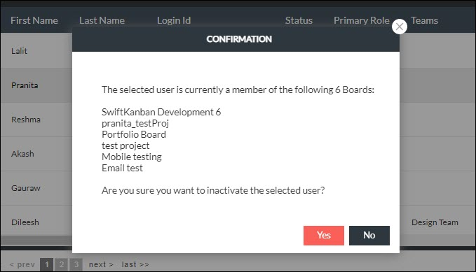 confirmation screen showing the list of Boards user is member of