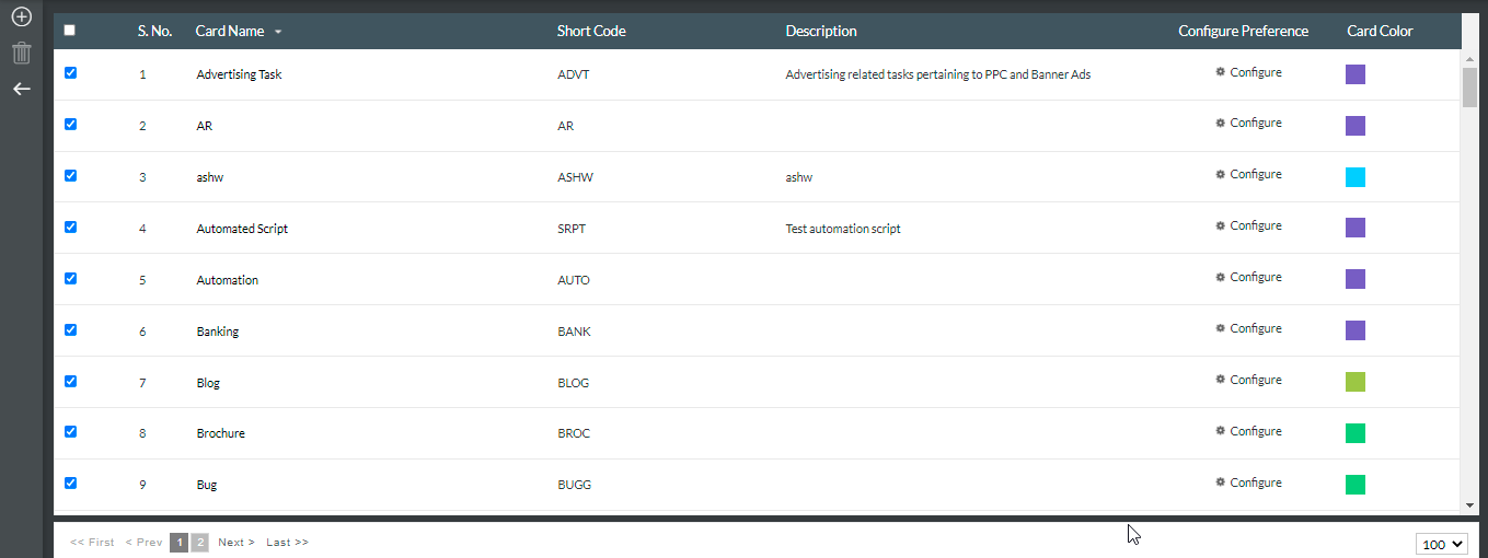 card settings page under Admin Settings